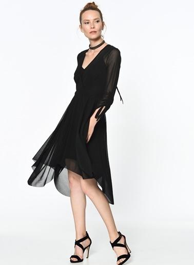 Asimetrik Kesimli Şifon Elbise-Random